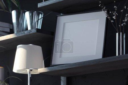 Photo pour Cadre photo vierge sur étagère en bois dans élégant salon sombre moderne. Rendement 3D. Heure du soir - image libre de droit