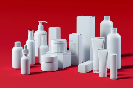 Photo for Beauty product package on red background, blank templates of white plastic containers: dispenser, cream jar, tube, spray, bottle, dropper with empty space. 3d rendering. - Royalty Free Image