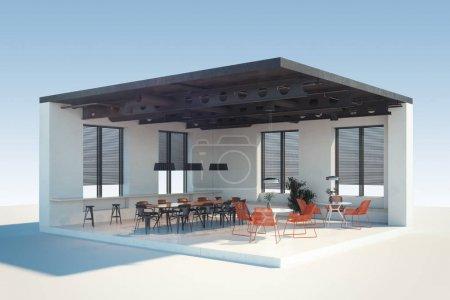 Photo pour Café ou restaurant moderne en coupe avec de grandes fenêtres et des meubles confortables. Rendu 3d . - image libre de droit