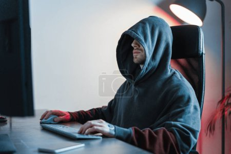 Photo for Hacker working on PC. Modern working place of designer, painter, photographer, freelancer. - Royalty Free Image