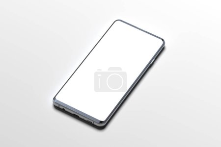 Photo for White Mobile phone with blank screen isolated on white background. 3d rendering. Copy space. Empty space. Minimalism - Royalty Free Image