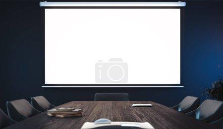 Photo pour Toile écran projecteur vierge dans la salle de conférence moderne. Rendu 3d . - image libre de droit