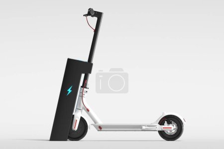 Photo for Electric scooter with electric charger isolated on white background. eco alternative transport concept. 3d rendering. Side view. Minimalism. - Royalty Free Image