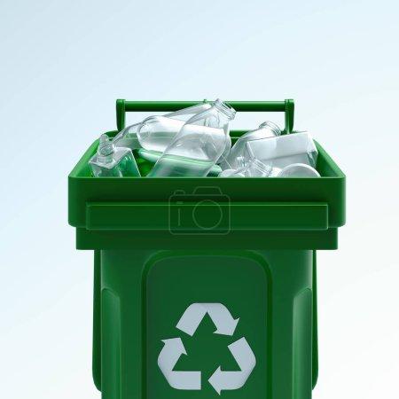 Photo pour Poubelle verte pour plastique avec symbole de recyclage blanc isolé sur fond blanc. Rendu 3d - image libre de droit