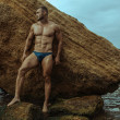 Strong face muscle male model on the nature backgr...