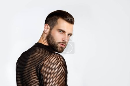 Photo for Muscle strong beautiful stripped male model in casual cloathes on white isolated font background - Royalty Free Image