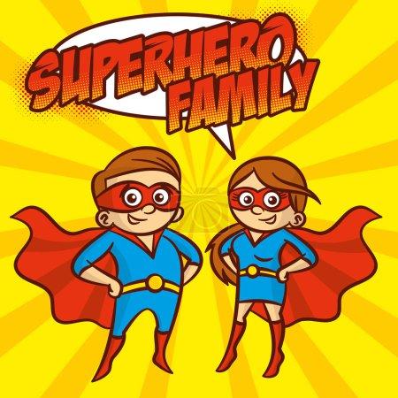 Illustration for Superhero Family Cartoon character Vector illustration Yellow background - Royalty Free Image
