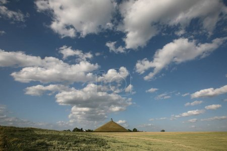 Lion's Mound over the battlefield of the Battle of Waterloo 1815 near Brussels, Belgium.