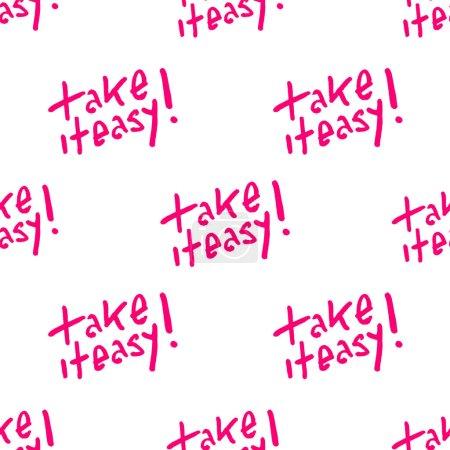 Photo pour Modèle sans couture de modèle de dessin avec le prendre la conception typographique facile de texte dans les couleurs roses et blanches - image libre de droit