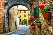 Beautiful charming old streets with floral decoration in italian village,Casperia,Rieti,Lazio.