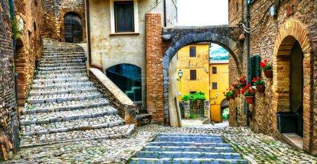 Photo pour Villages médiévaux traditionnels d'Italie - pittoresques vieilles rues et fleurs, Casperia . - image libre de droit