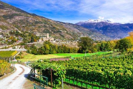 Photo pour Châteaux et vignobles de Vallée d'Aoste. Castello Reale di Sarre, Italie . - image libre de droit