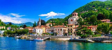 Picturesque lake Lago Maggiore. beautiful Laveno Mombello town. Lombardia,Italy.