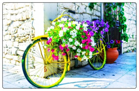 Cute street decoration with vintage floral bike