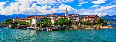 """Beautiful romantic lake Lago Maggiore - view of island """"Isola dei Pescatori.North Italy."""