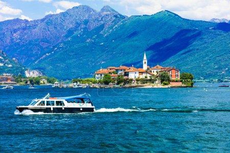 Scenic Lago Maggiore - pictorial Borromean islands. Isola dei Pescatori, North Italy.