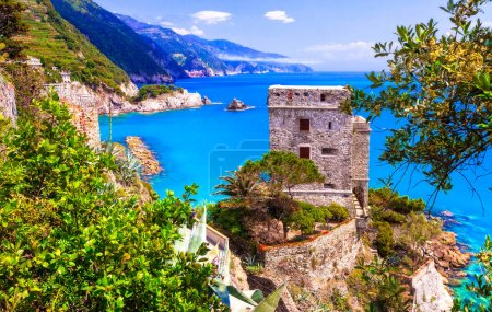 Cinque terre villages - scenic Monterosso al mare , view with medieval castle,Liguria,Italy.