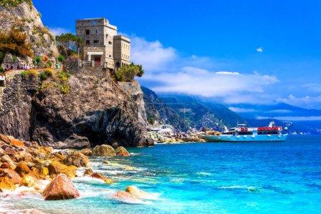 Cinque terre villages - scenic Monterosso al mare , view with medieval castle and sea,Liguria,Italy.