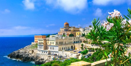 Santa Cesarea Terme - beautiful coastal town in Puglia,view with old castle and colorful houses,Italy