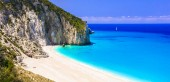 Best beaches of Lefkada island - Milos.view with azure sea and unique rocks. Ionian islands of Greece.