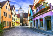 Landmarks of Germany - Rothenburg ob der Tauber in Bavaria. Famous traditional village.