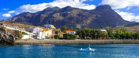 Photo pour Gran Canaria - le village de pêcheurs traditionnel pittoresque La Aldea de San Nicolas, Espagne. - image libre de droit