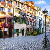 Travel in Germany, traditional streets of old town in Nuremberg