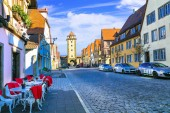 Traditional architecture of Germany. Streets of Rothenburg town.