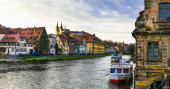 Travel in Germany - boat trip over Regniz river. Bamberg town. B