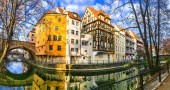 Golden autumn in Germany . landmarks of Bavaria- beautiful town of Bamberg.