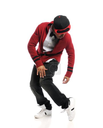 Photo for Hip Hop dancer performing isolated on a white background - Royalty Free Image