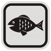 Fish at gray nad black frame vector icon