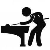 Billiard black vector icon silhouette of man by billiards desk