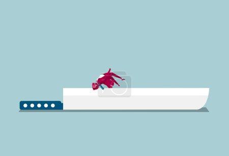 Illustration pour L'homme d'affaires a sauté par-dessus le couteau. Isolé sur fond bleu . - image libre de droit