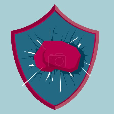The fist smashes the shield. Isolated on blue background.