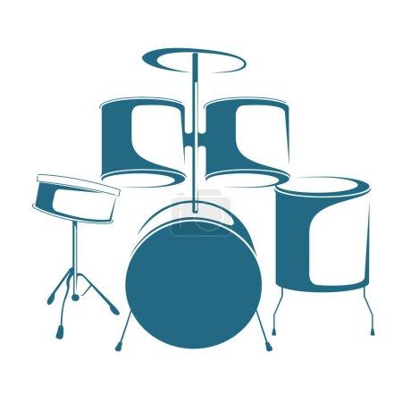 Illustration pour Tambours de jazz dessinés par vecteur. Isolé sur fond blanc . - image libre de droit