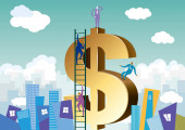 Prosperous financial city The background is cloudy
