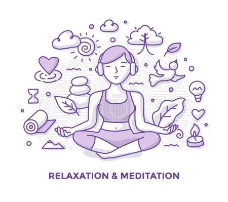 Illustration pour Illustration de la femme, méditant dans la pose du lotus, écoutant de la musique avec des écouteurs et relaxant. Concept de doodle de pleine conscience et de méditation - image libre de droit