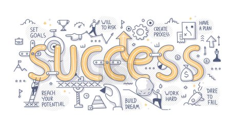 The concept of success. Various components of successful outcome. Hand drawn doodle illustration for web banner, hero image and printing material