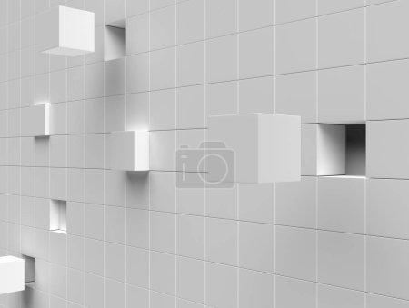 Photo pour 3d fond blanc avec des formes géométriques et des cubes - image libre de droit