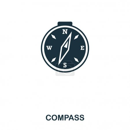 Photo for Compass icon. Mobile app, printing, web site icon. Simple element sing. Monochrome Compass icon illustration - Royalty Free Image