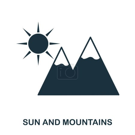 Photo for Sun And Mountains icon. Mobile app, printing, web site icon. Simple element sing. Monochrome Sun And Mountains icon illustration - Royalty Free Image