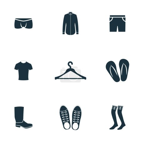 Photo pour Ensemble d'icônes de vêtements. Collection de symboles de qualité supérieure. Ensemble d'icônes de vêtements éléments simples - image libre de droit