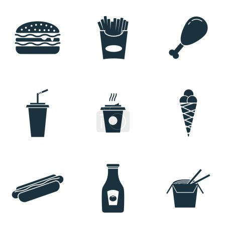 Photo for Fastfood icons set. Premium quality symbol collection. Fastfood icon set simple elements - Royalty Free Image
