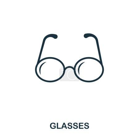 Icône de lunettes. Conception d'icône de style ligne. L'assurance chômage. Illustration de l'icône des lunettes. Pictogramme isolé sur blanc. Prêt à l'emploi dans la conception web, applications, logiciels, impression .
