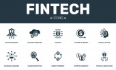 Fintech set icons collection Includes simple elements such as Future of money Digital native Cryptocurrency and Direct payment premium icons