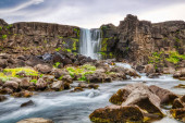 Oxararfoss Waterfall at Sunset, Iceland