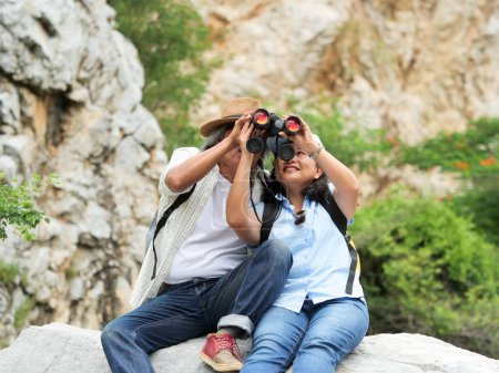 Photo for Senior couple travel together on a summer vacation - Royalty Free Image