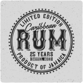 Label of the Caribbean rum On light background