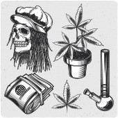 Cannabis set Black and white illustration Isolated on light backgrond with grunge noise and frame